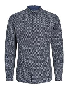 Jack & Jones Overhemd JPRMAGNUM AOP SHIRT L/S PLAIN 12128731 Navy Blazer