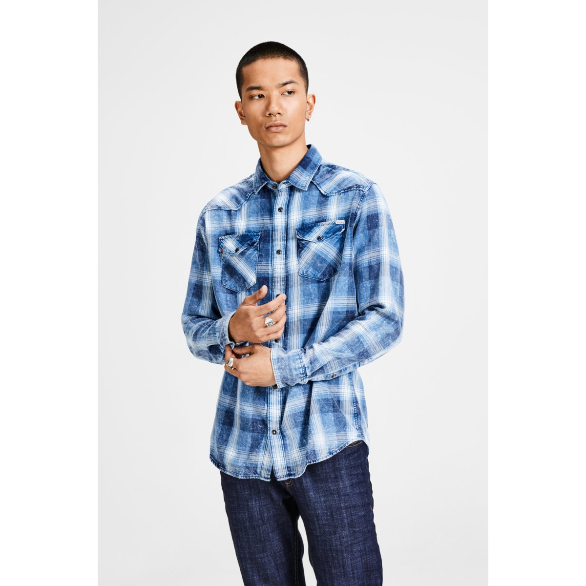 jjvjason shirt l/s western 12128505 jack & jones overhemd parisian night