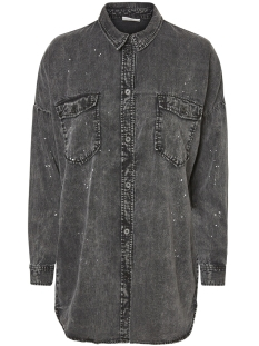 nmerik l/s oversize paint shirt 8 27000492 noisy may blouse dark grey denim