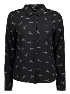 vmevi l/s shirt d2 lcs 10199275 vero moda blouse black/snow white