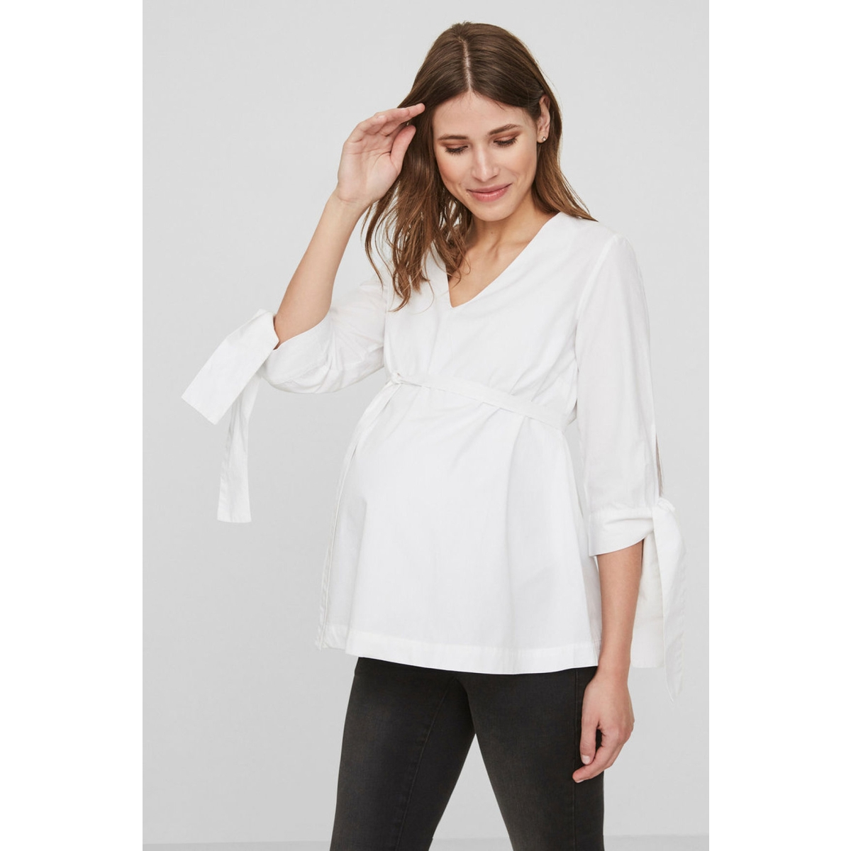 mlkrista 3/4 woven top n. 20008232 mama-licious positie blouse bright white