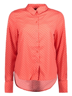 Vero Moda Blouse VMNICKY L/S  SHIRT D2-3 10199269 Poppy Red/WHITE DOT