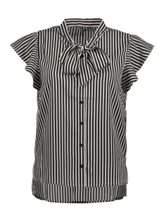 Only Blouse onlELENA S/S STRIPED BOW SHIRT WVN 15150874 Black/WHITE STRI