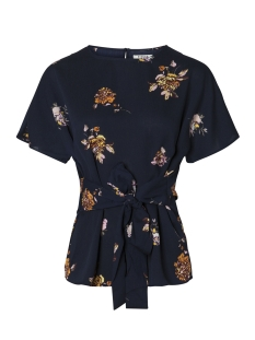 Pieces Blouse PCGAIL SS TIE TOP CAMP 17088928 Maritime Blue/ROSES PRIN