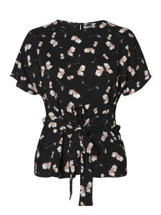 pcgail ss tie top camp 17088928 pieces blouse black aop/small flower