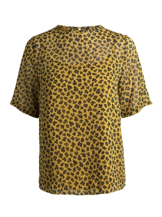 Pieces T-shirt PCLUNA SS TOP D2D 17091008 Buff Yellow/LEO