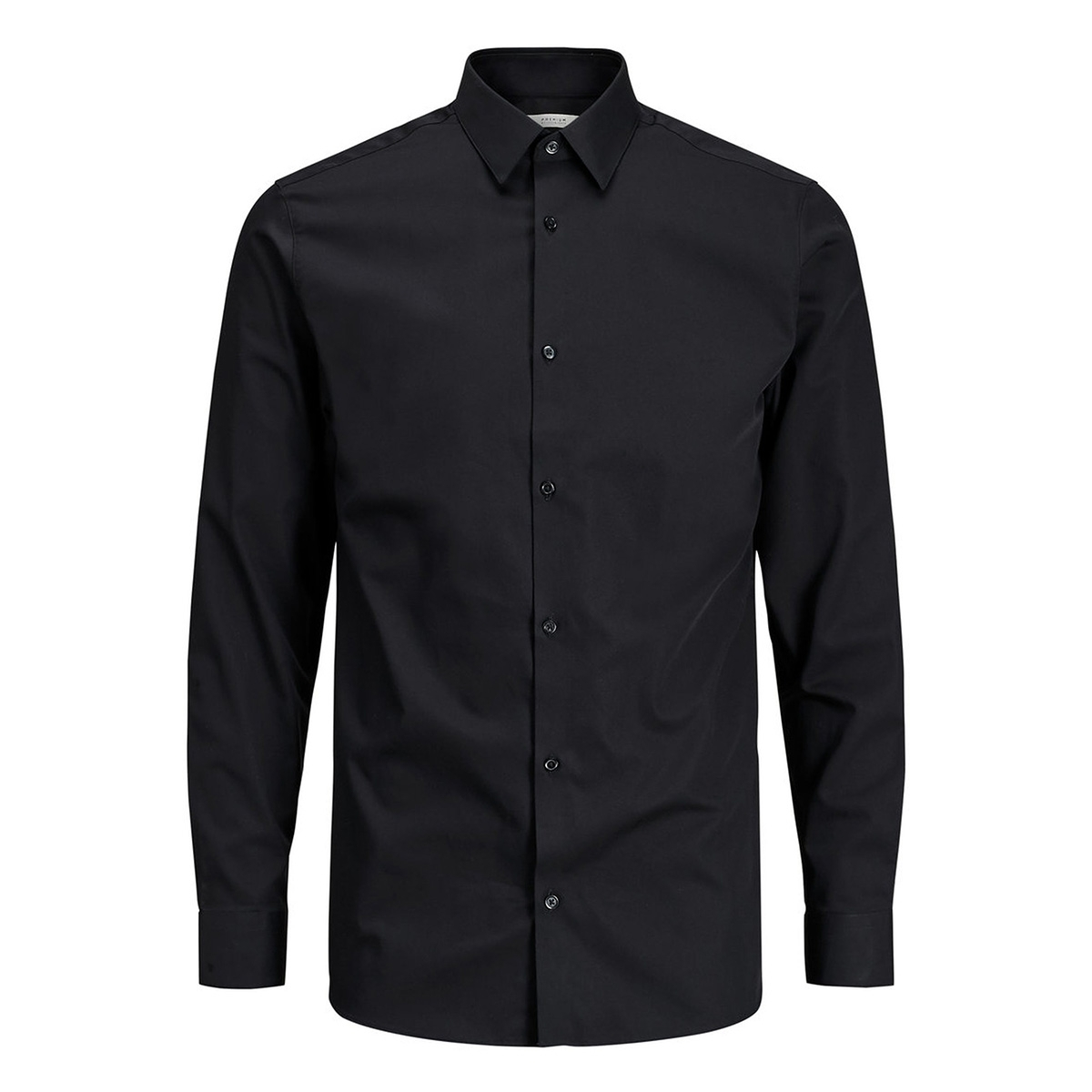 jprnon iron shirt l/s noos 12125792 jack & jones overhemd black/slim fit