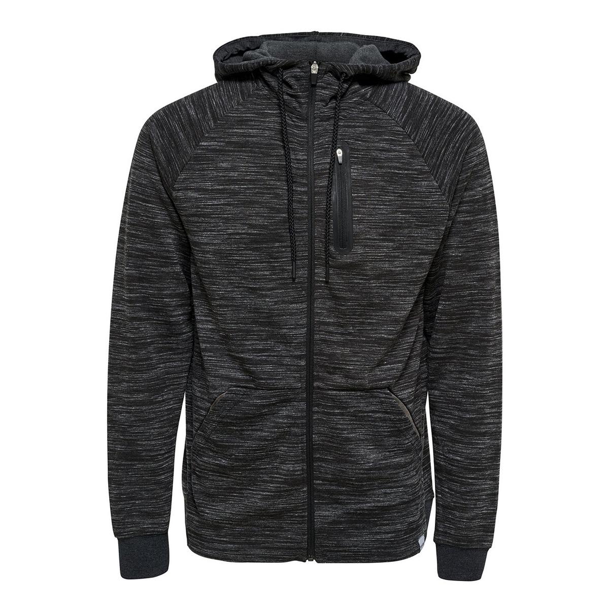 onsvinn 2.0 zip hoodie noos 22011065 only & sons vest dark grey melange