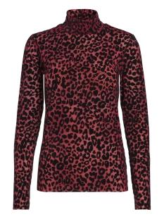 Pieces T-shirt PCTIBI LS MESH T-NECK TOP D2D 17093944 Flame scarlet/BLC leo