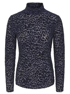 Pieces T-shirt PCTIBI LS MESH T-NECK TOP D2D 17093944 Maritime Blue/BLC leo