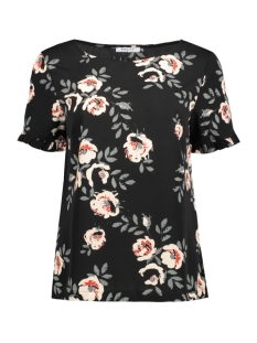 Pieces T-shirt PCINEA SS FRILL SLEEVE TOP PB 17091301 Black/BIG FLOWER