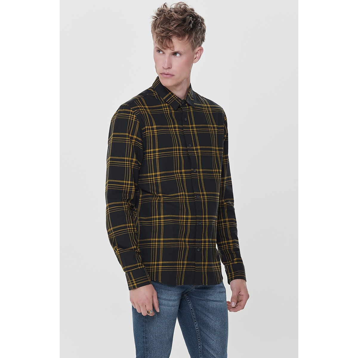 onsothan ls y/d check shirt 22011280 only & sons overhemd spectra yellow