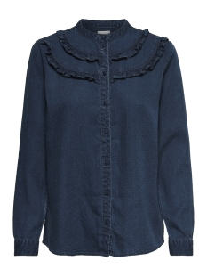 Only Blouse onlVIVIA L/S FRILL DNM SHIRT 15159841 Dark Blue Denim