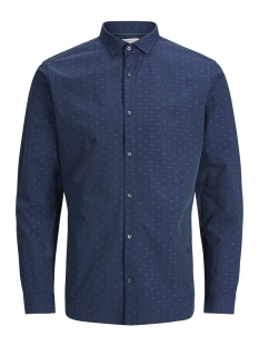 Jack & Jones Overhemd JPRCOLIN DOBBY SHIRT L/S PLAIN 12139581 Navy Blazer/SLIM FIT