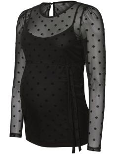 Mama-Licious Positie shirt MLNAIA L/S MESH FLOCK DOT TOP  20009194 Black/AOP FLOCK