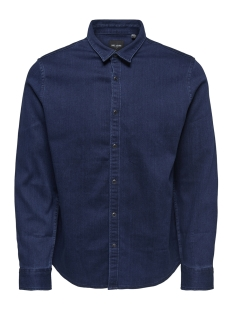 onsole ls jog denim shirt 22011179 only & sons overhemd dark blue denim