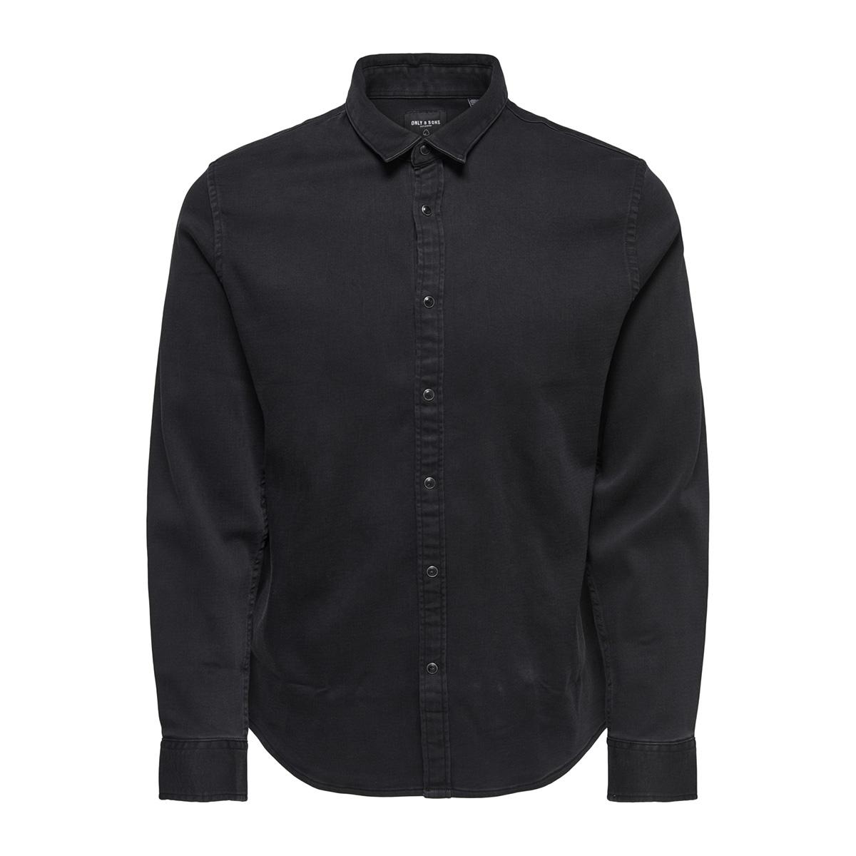onsole ls jog denim shirt 22011179 only & sons overhemd dark grey denim