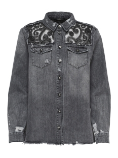 Only Jas onlROCK IT REG LACE GLIT SHIRT BJ 15165248 Grey Denim