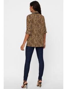 vmkatrine li ls bow shirt 10185446 vero moda blouse travertine/leo print