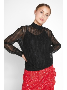 pclul ls glitter smock top camp 17095008 pieces t-shirt black/lurex silver