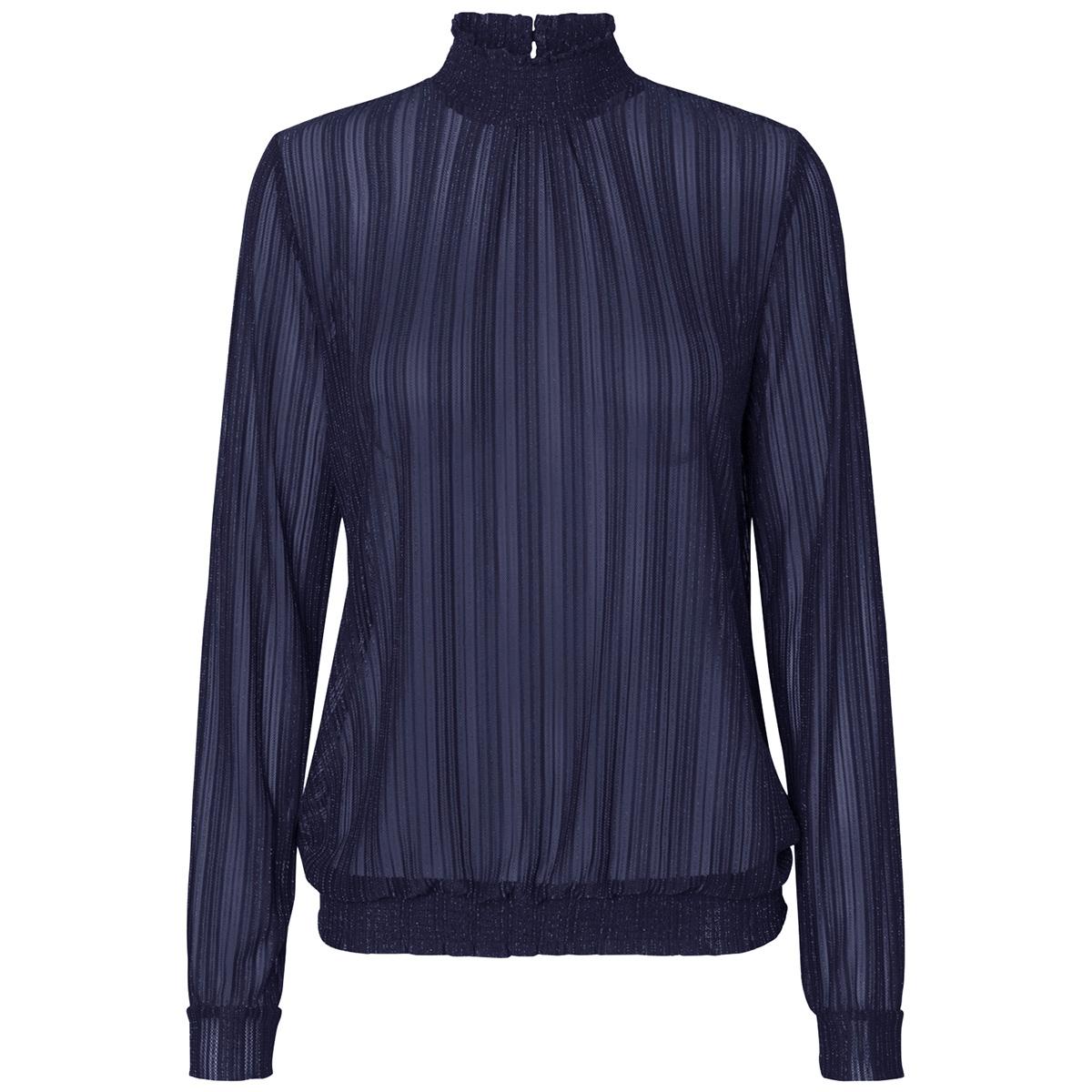 pclul ls glitter smock top camp 17095008 pieces t-shirt maritime blue/lurex silver