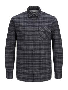 jprcameron shirt l/s one pocket 12139602 jack & jones overhemd dark grey