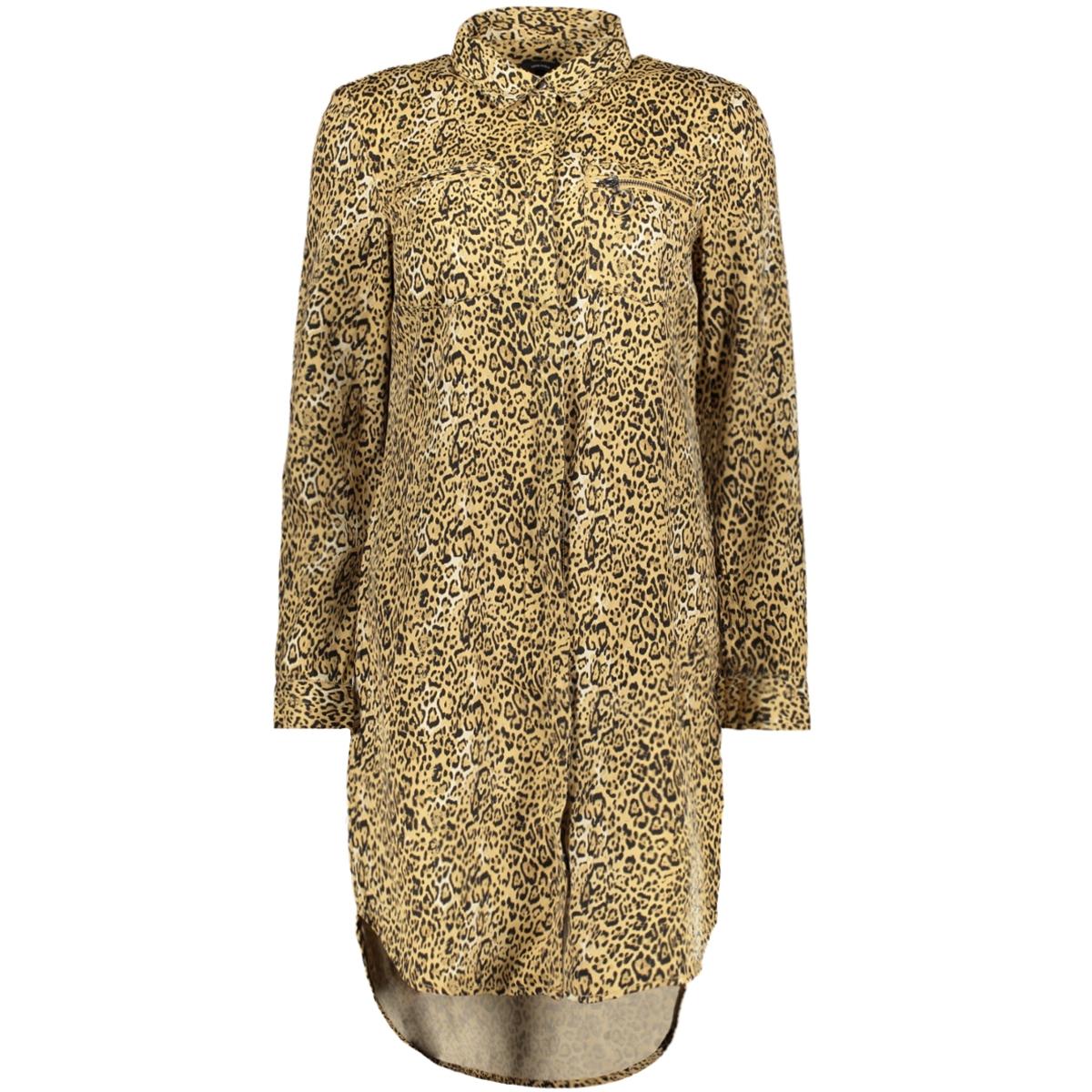 vmcharlie ls shirt dress ga 10185950 vero moda jurk travertine/leo