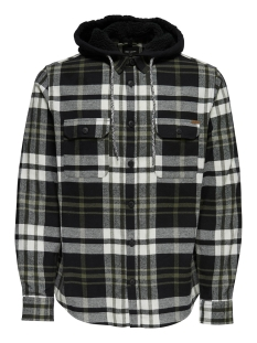 Only & Sons Overhemd onsMIKKEL LS REG CHECKED HOODIE SHIRT 22011707 Black