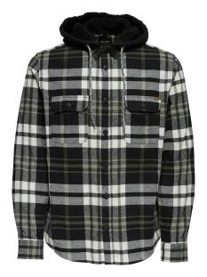 onsmikkel ls reg checked hoodie shirt 22011707 only & sons overhemd black