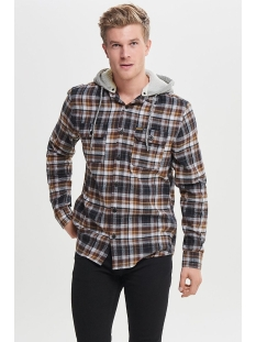 onsmikkel ls reg checked hoodie shirt 22011707 only & sons overhemd demitasse