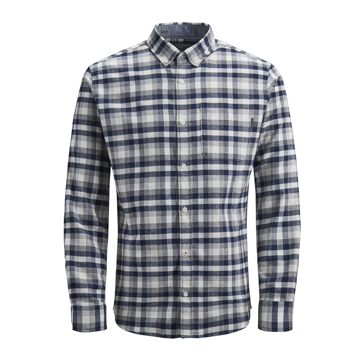 jprkeith check shirt l/s 12143551 jack & jones overhemd white/slim fit