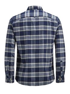 jprkeith check shirt l/s 12143551 jack & jones overhemd navy blazer/slim  fit