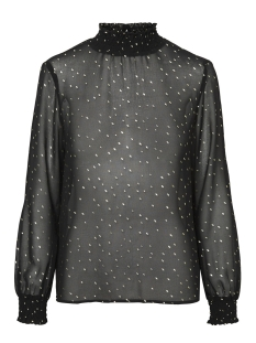Only T-shirt PCLUCY  LS T-NECK TOP CAMP 17093462 Black/GOLD DOT