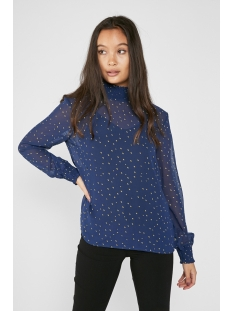 pclucy  ls t-neck top camp 17093462 pieces t-shirt maritime blue/gold dot