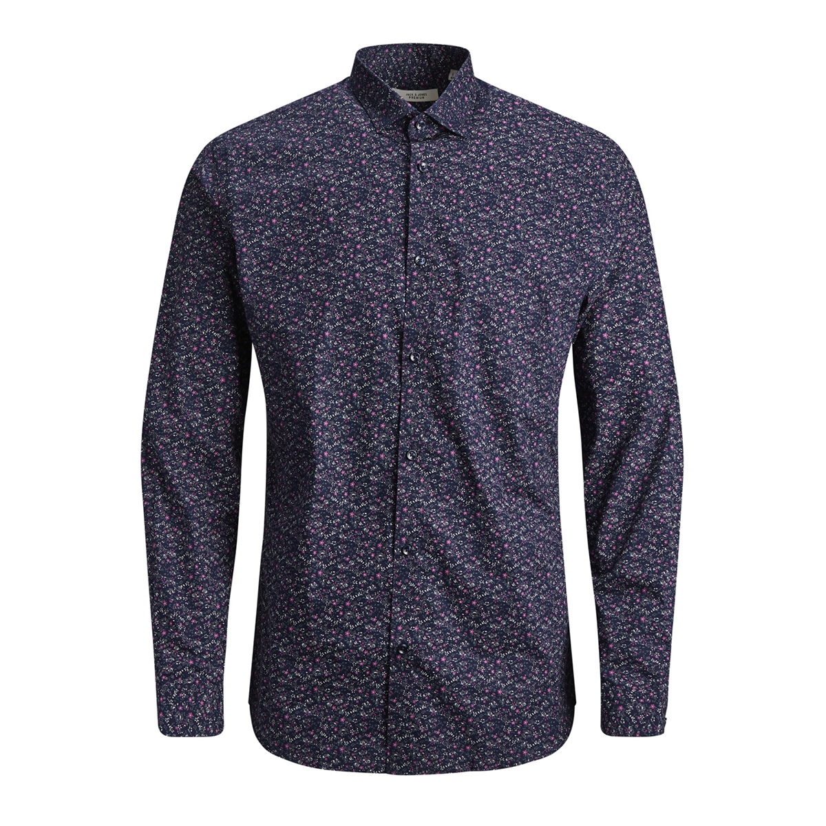 jprblackpool shirt l/s s19 sts 12145540 jack & jones overhemd navy blazer/slim fit