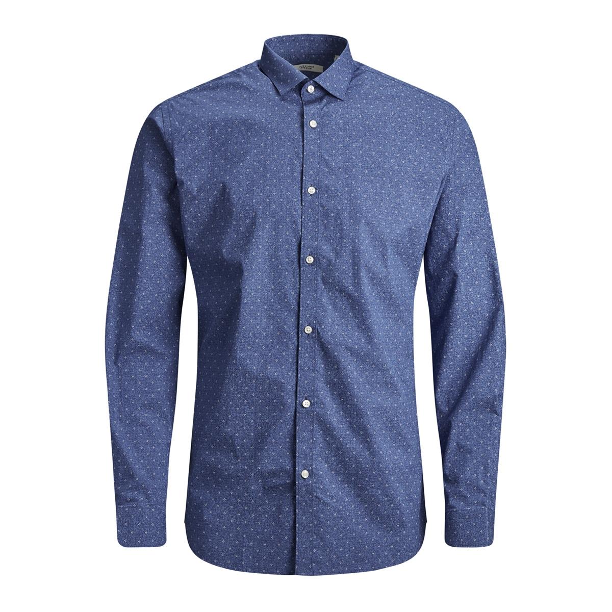 jprblackpool shirt l/s s19 sts 12145540 jack & jones overhemd blue depths/slim fit