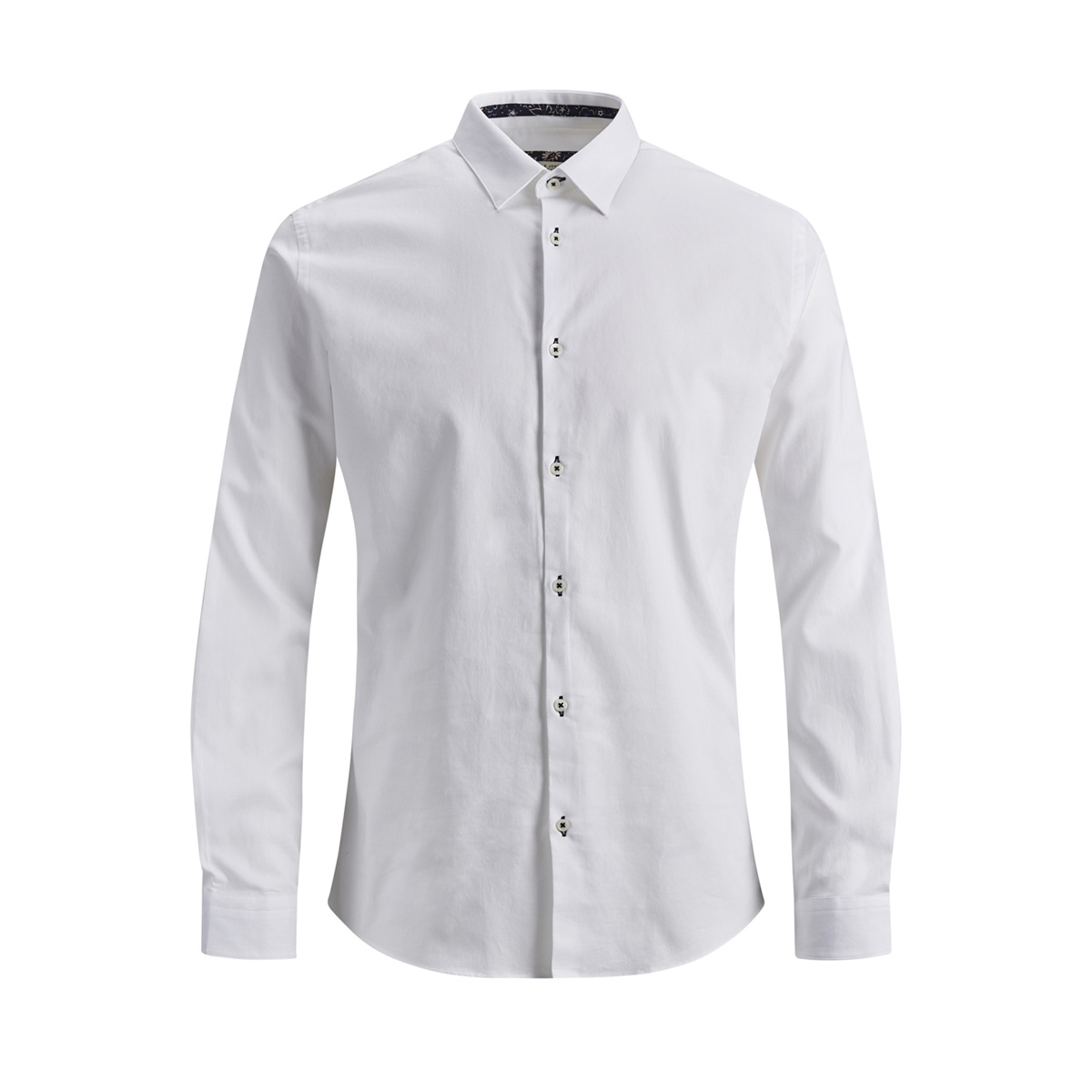 jprmarco detail shirt l/s 12145537 jack & jones overhemd white/solid/slim