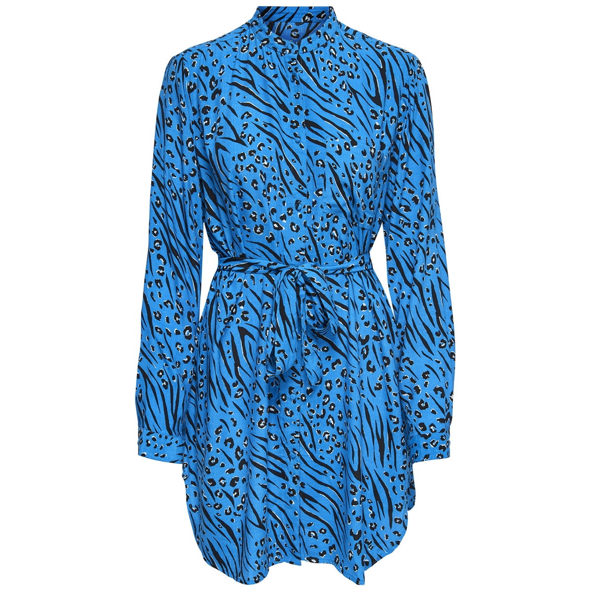 onlmuni l/s long shirt wvn 15180023 only blouse brilliant blue/leo/zebra