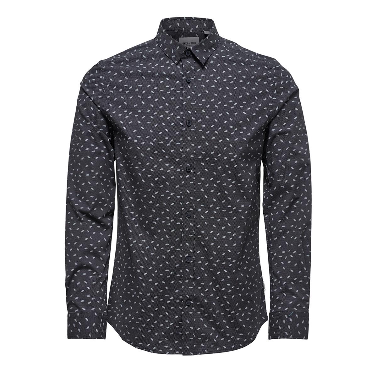 onsalfredo ls ditst aop shirt 22012323 only & sons overhemd dark navy