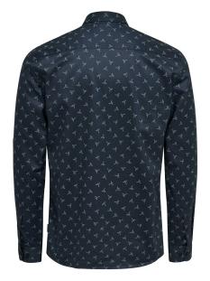 onsalves ls  bird aop 2-ply shirt d 22013503 only & sons overhemd dress blues