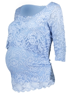 Mama-Licious Positie shirt MLMIVANE JUNE 3/4 LACE TOP COMBI A. 20007866 Placid Blue
