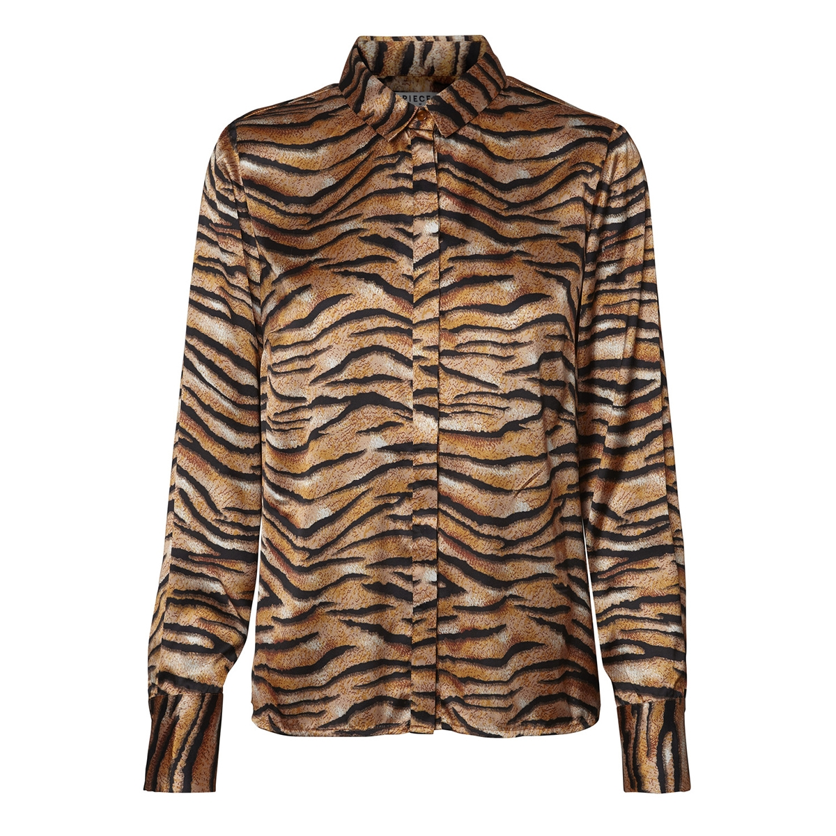 pctiga ls shirt d2d 17098960 pieces blouse black/tiger print