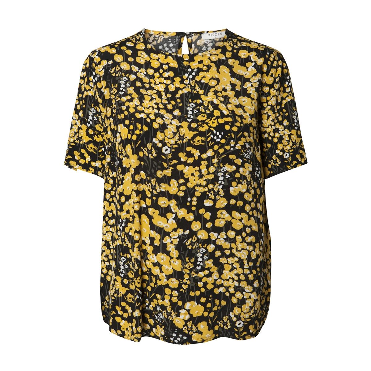 pclonni ss top pb 17092684 pieces t-shirt black/buttercup