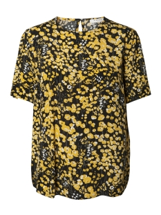 Pieces T-shirt PCLONNI SS TOP PB 17092684 Black/BUTTERCUP