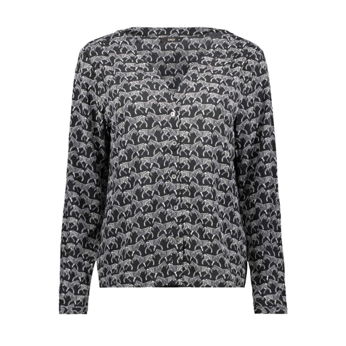 onlnova lux aop v-neck placket shirt 4 w 15172745 only blouse black/zebra