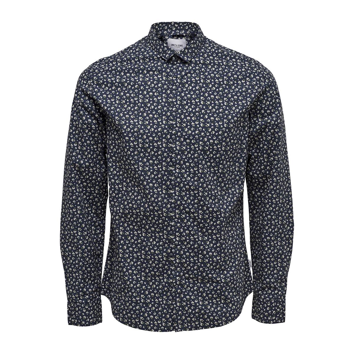 T Shirt Overhemd.Onstodd Ls Cutaway Aop Shirt 22012322 Only Sons Overhemd Dark Navy