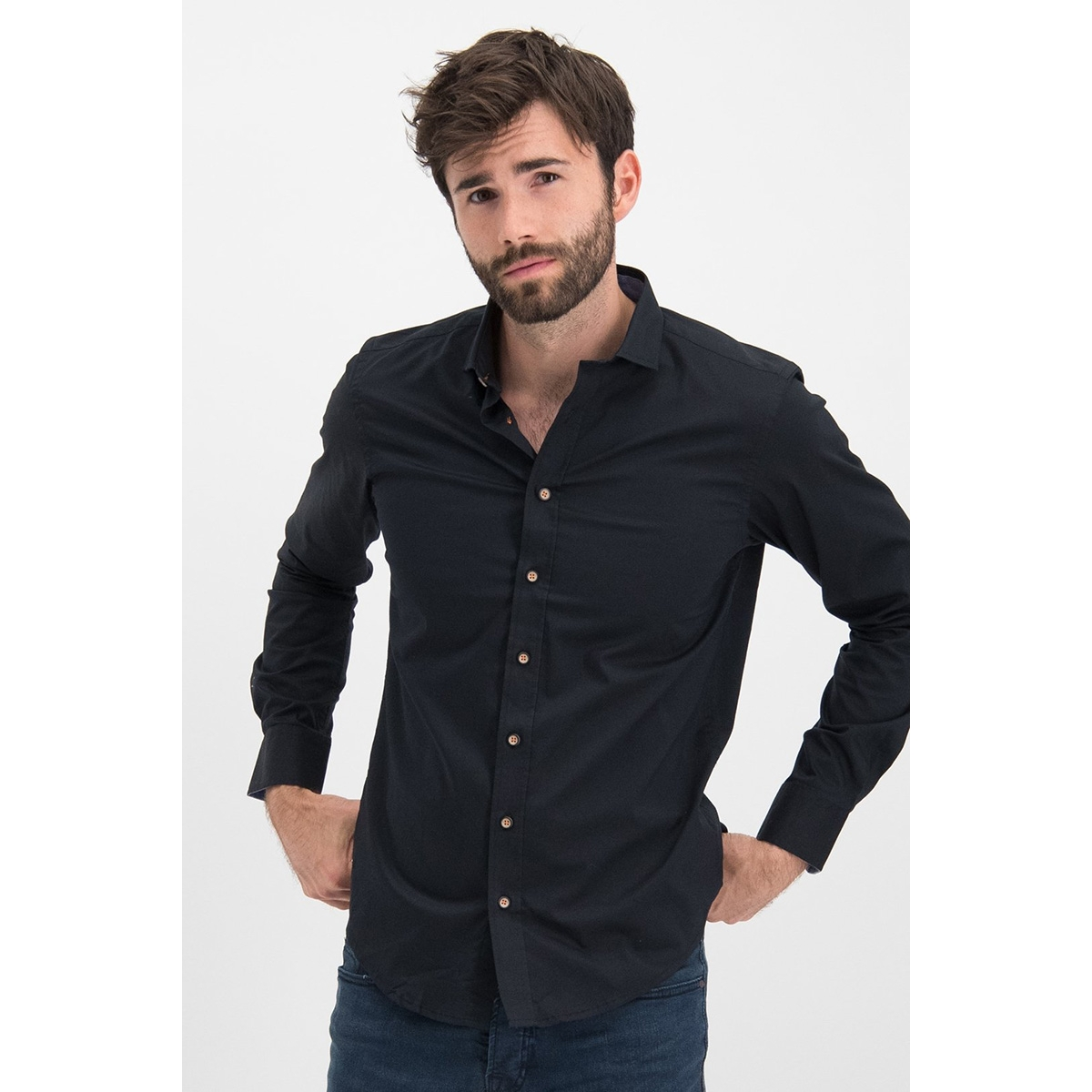 shirt solid stretch me 0103 haze & finn overhemd black