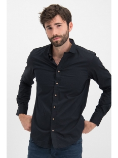 Haze & Finn Overhemd SHIRT SOLID STRETCH ME 0103 BLACK