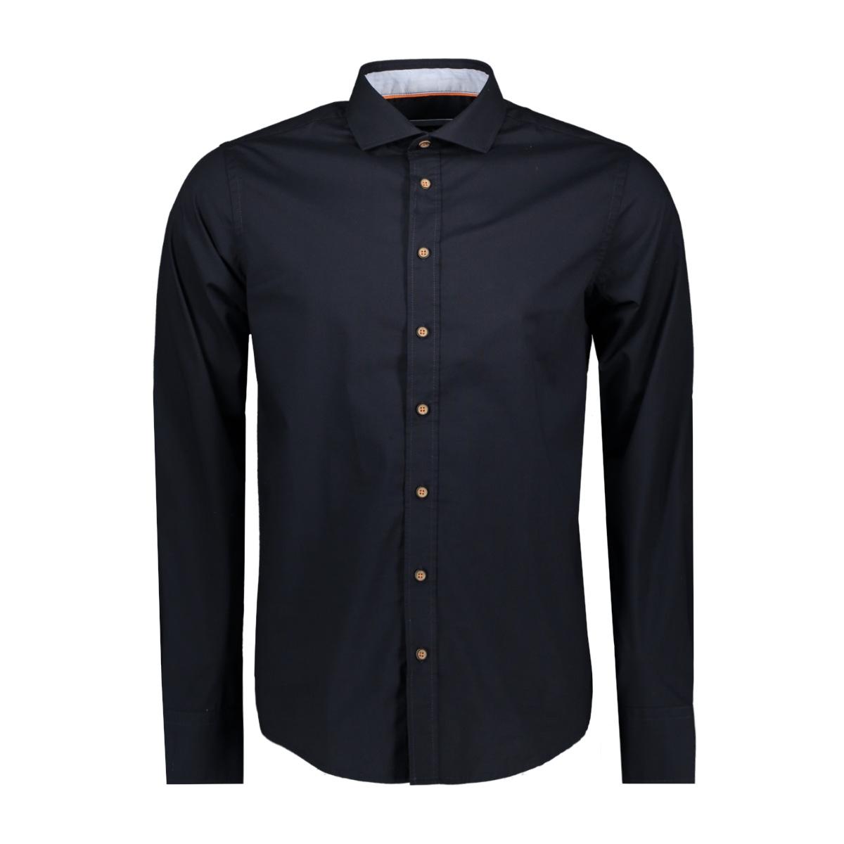 shirt solid stretch me 0103 haze & finn overhemd navy