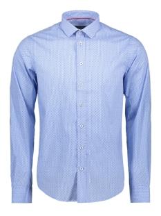Haze & Finn Overhemd SHIRT AOP STRETCH MC11 0100 06 BLUE VICHY DOT